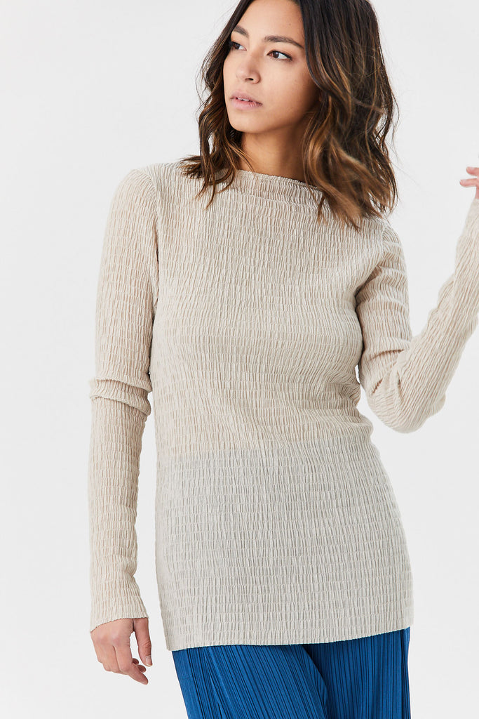 Long Sleeve Knit Top, Wheat