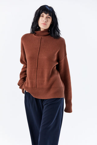 Seam Turtleneck Sweater, Nutmeg