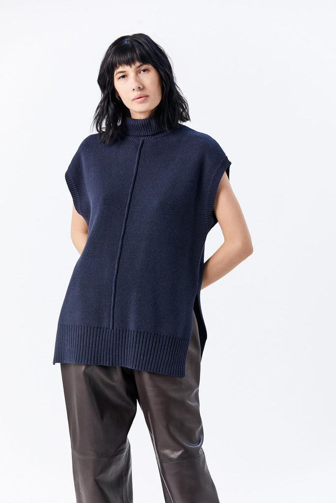 Nomia - Sleeveless Seam Turtleneck Sweater, Midnight