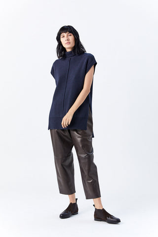 Sleeveless Seam Turtleneck Sweater, Midnight