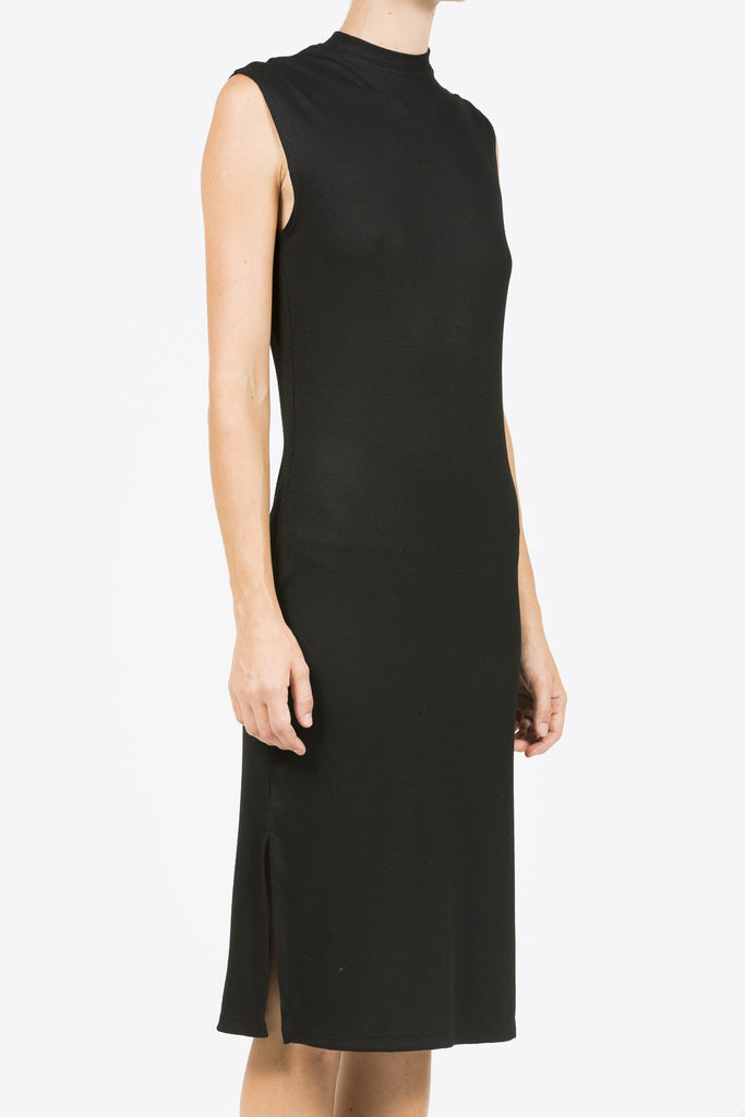 Midi Mock Neck Dress, Black by Nomia @ Kick Pleat - 3