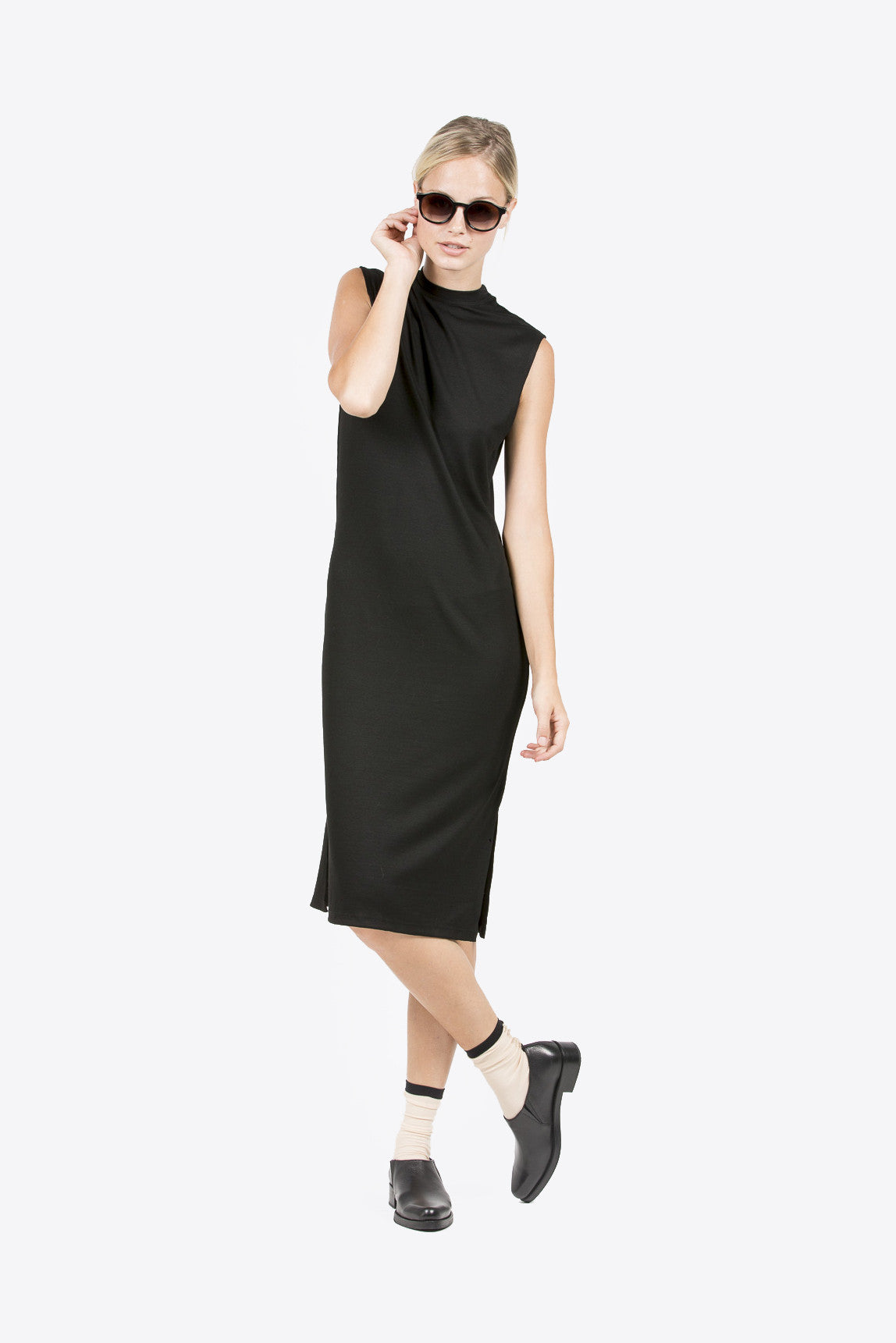 Midi Mock Neck Dress, Black by Nomia @ Kick Pleat - 1