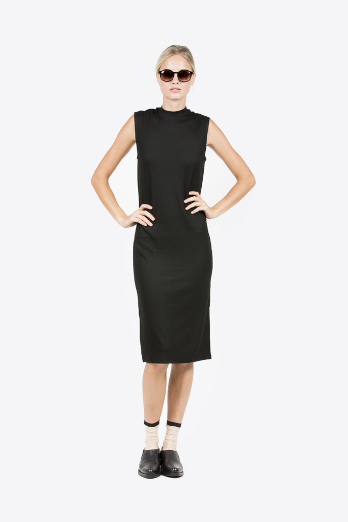 Midi Mock Neck Dress, Black by Nomia @ Kick Pleat - 8
