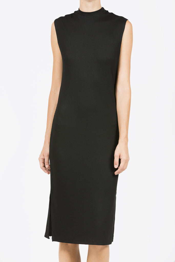 Midi Mock Neck Dress, Black by Nomia @ Kick Pleat - 2
