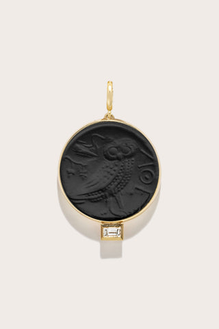 Owl of Athena Baguette Diamond Coin, Gold