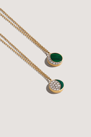 reversible moon phase pendant, white diamonds & malachite