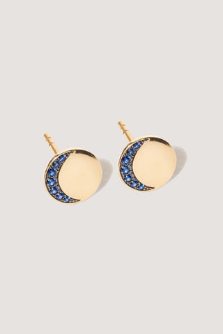Moon Phase Studs, Gold and Sapphire
