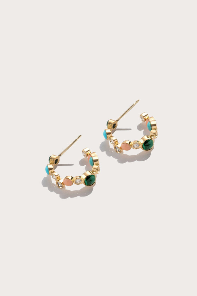 Pamela Love - Paillette Huggie Earrings, Malachite, Coral & Turquoise