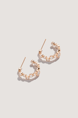 paillette huggie earrings, rose gold & champagne diamonds