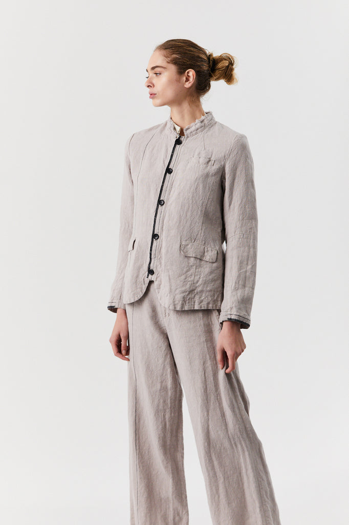 Stripe Linen Jacket, Grey