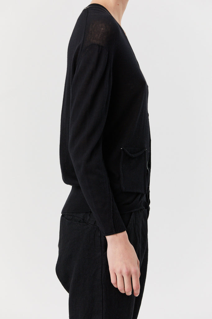 pas de calais - Pocket Cardigan, Black