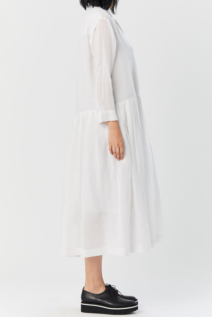 pas de calais - Pleated Shirt Dress, White
