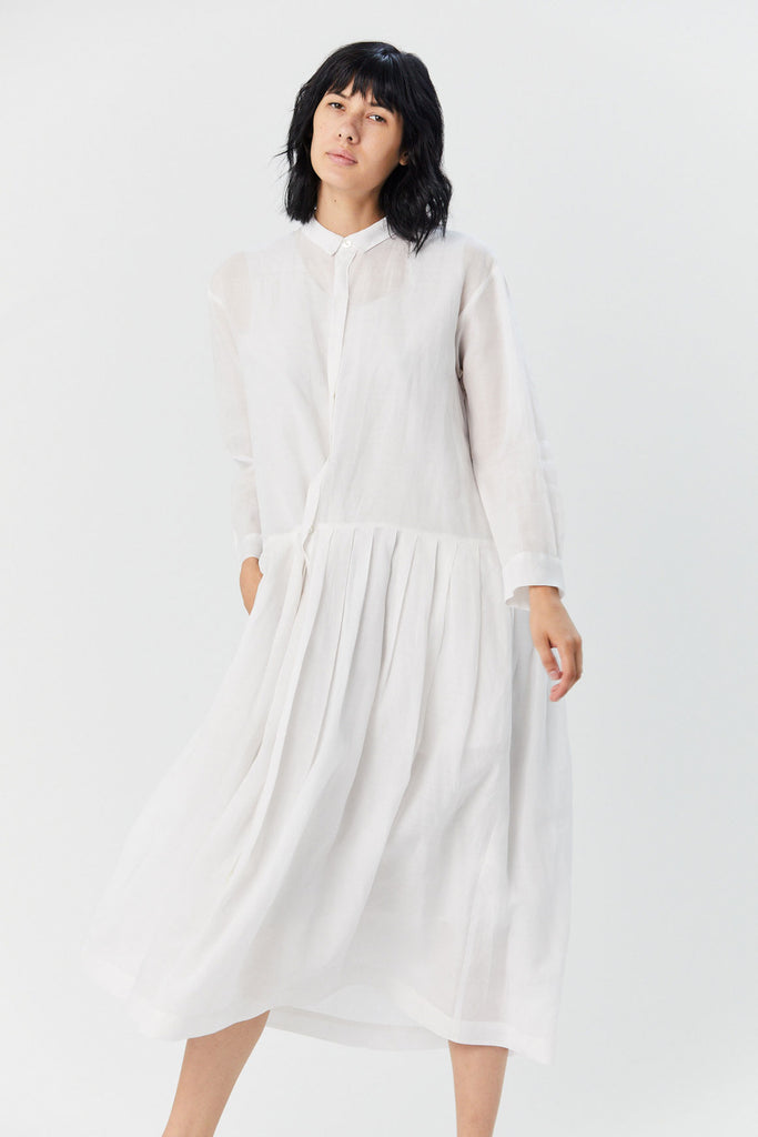 Pleated Shirt Dress, White