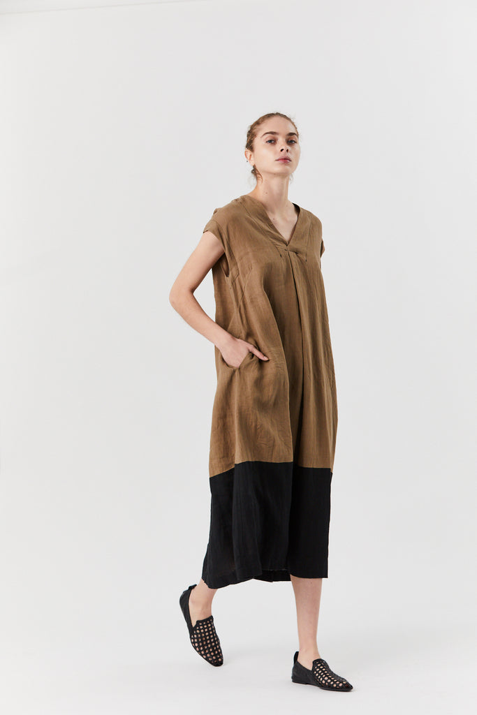 pas de calais - Color Band Dress, Beige & Black