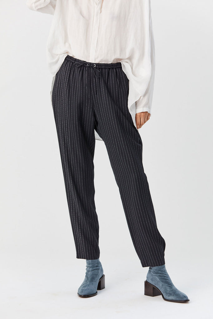 Pinstripe Tapered Pant, Black