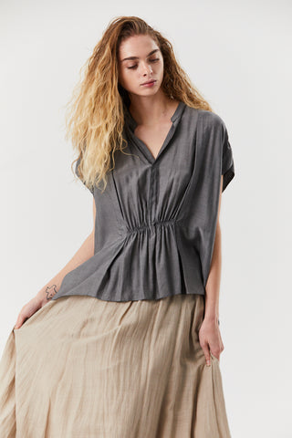 Gathered Blouse, Charcoal
