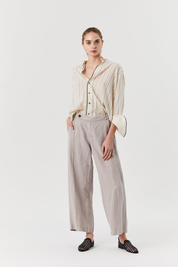 Stripe Linen Loose Pant, Light Grey