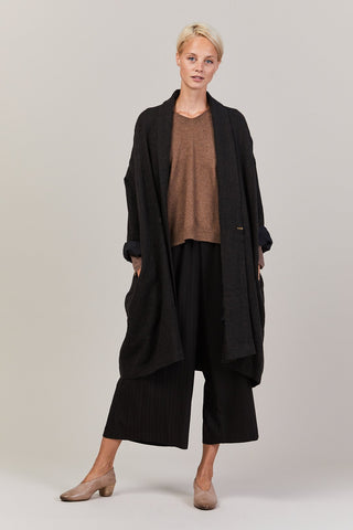 Shawl Draped Coat, Dark Brown
