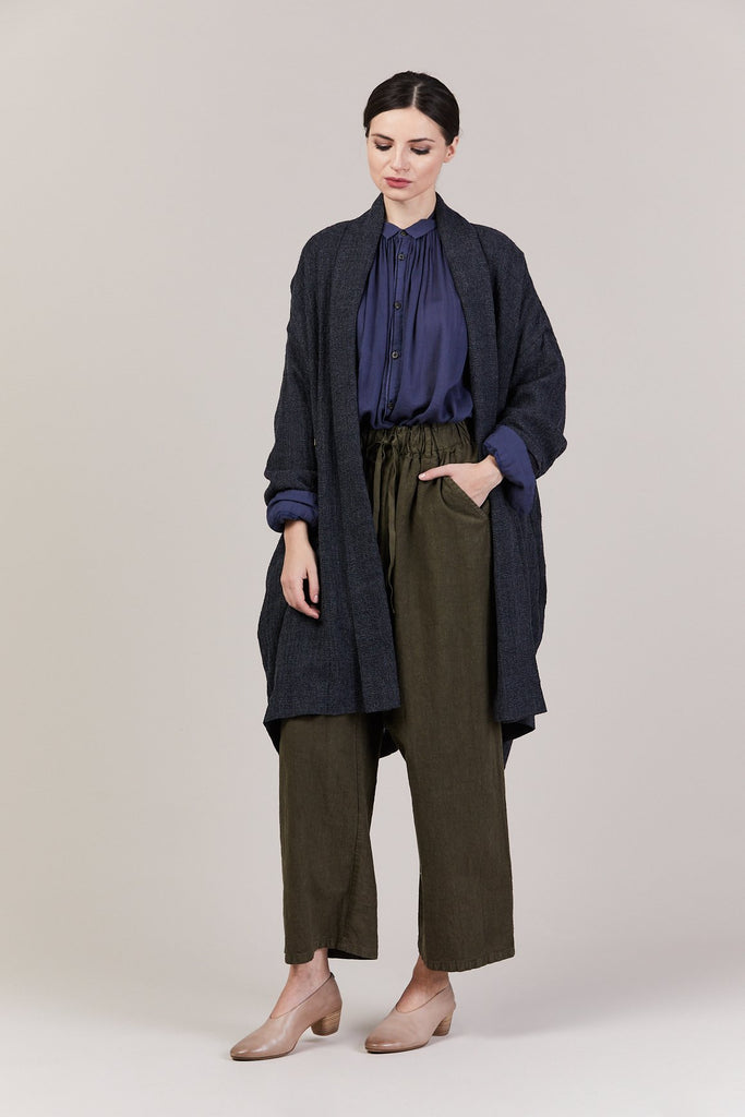 pas de calais - Shawl Draped Coat, Navy