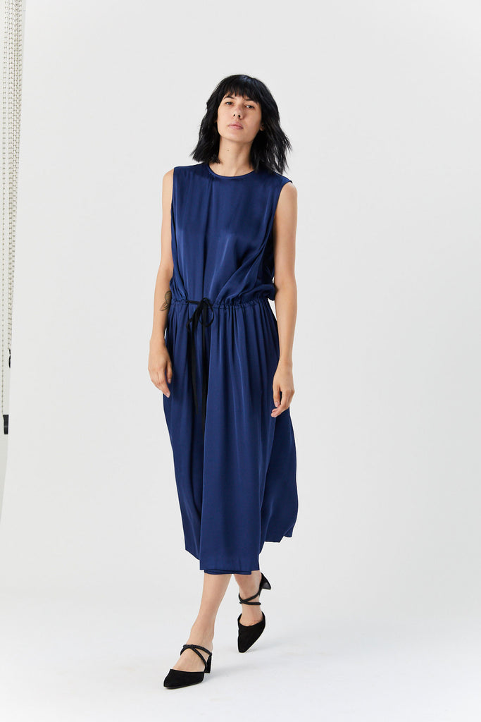 Sleeveless Drawstring Dress, Blue