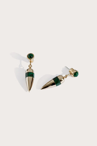 Pendulum ear jackets, brass/malachite