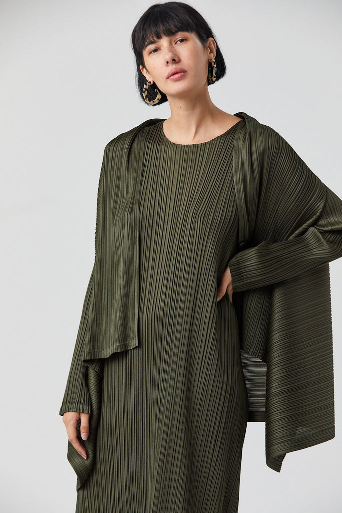 Pleated Cardigan, Olive