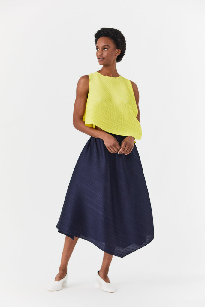 Pleats Please by Issey Miyake - Cross Grain Top, Yellow