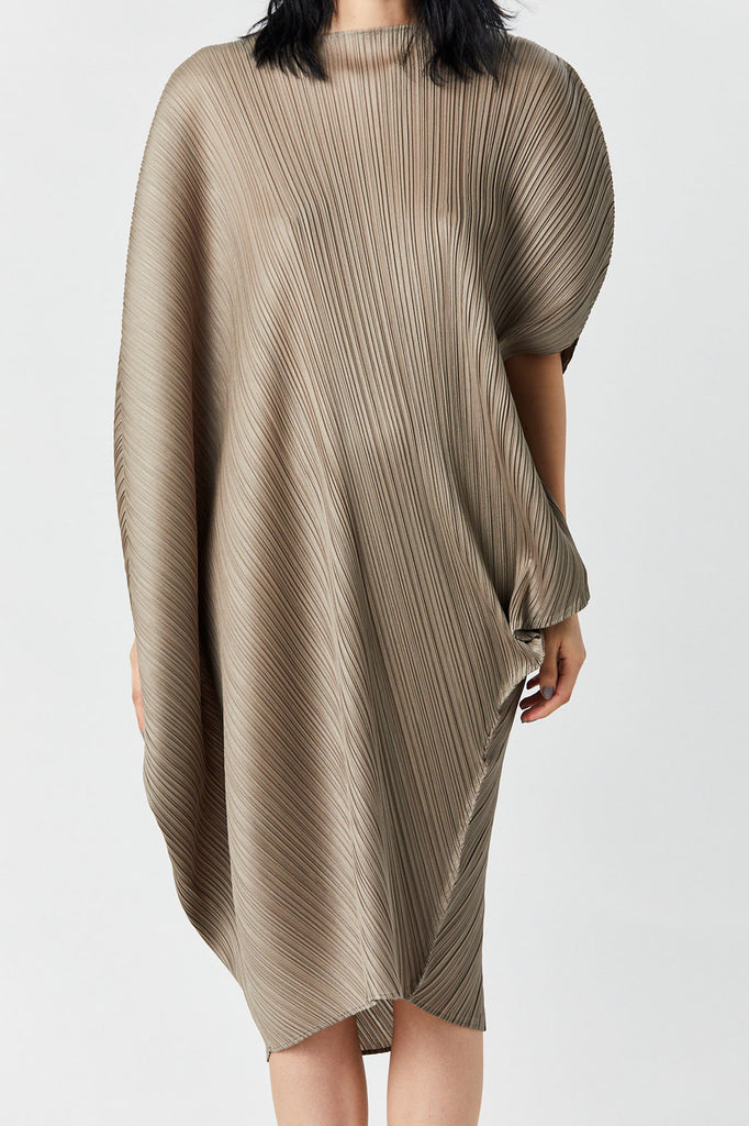 Pleats Please by Issey Miyake - Curved Dress, Ash Grey