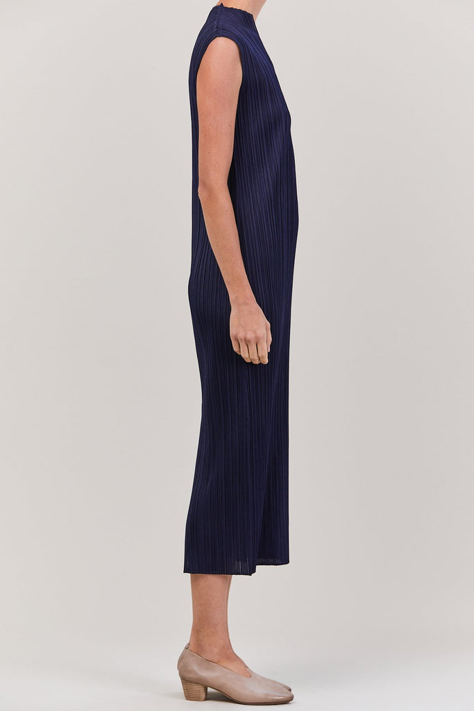 Pleats Please by Issey Miyake - Dress with Back Slit, Navy
