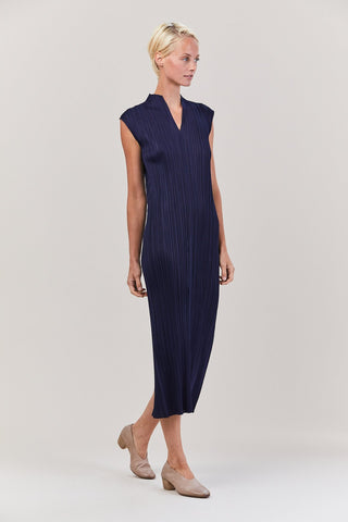 Dress with Back Slit, Navy