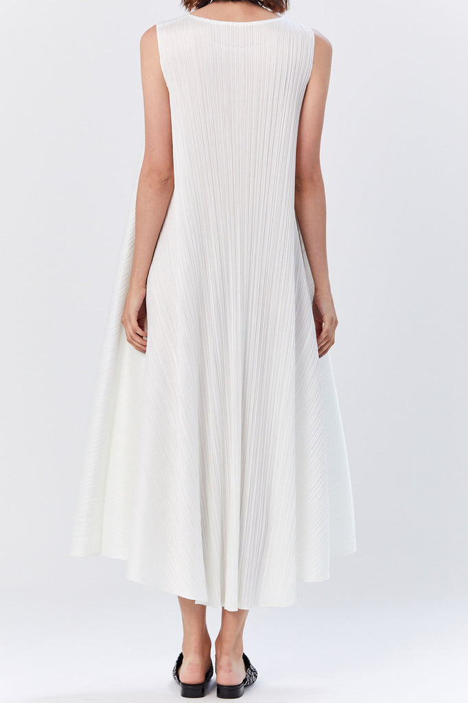 Pleats Please by Issey Miyake - Luster Sleeveless Shift Dress, White