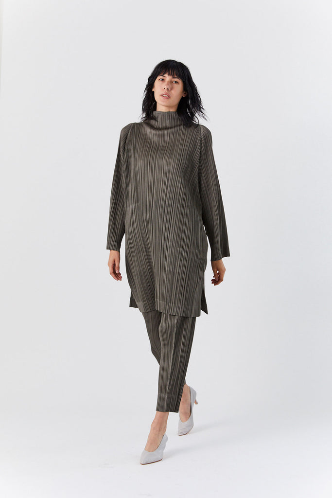 Long Sleeve Pleated Tunic, Olive