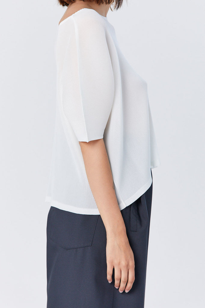 Pleats Please by Issey Miyake - Mist Short Sleeve Top, White