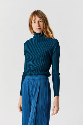 Rib Pleats Turtleneck, Cerulean