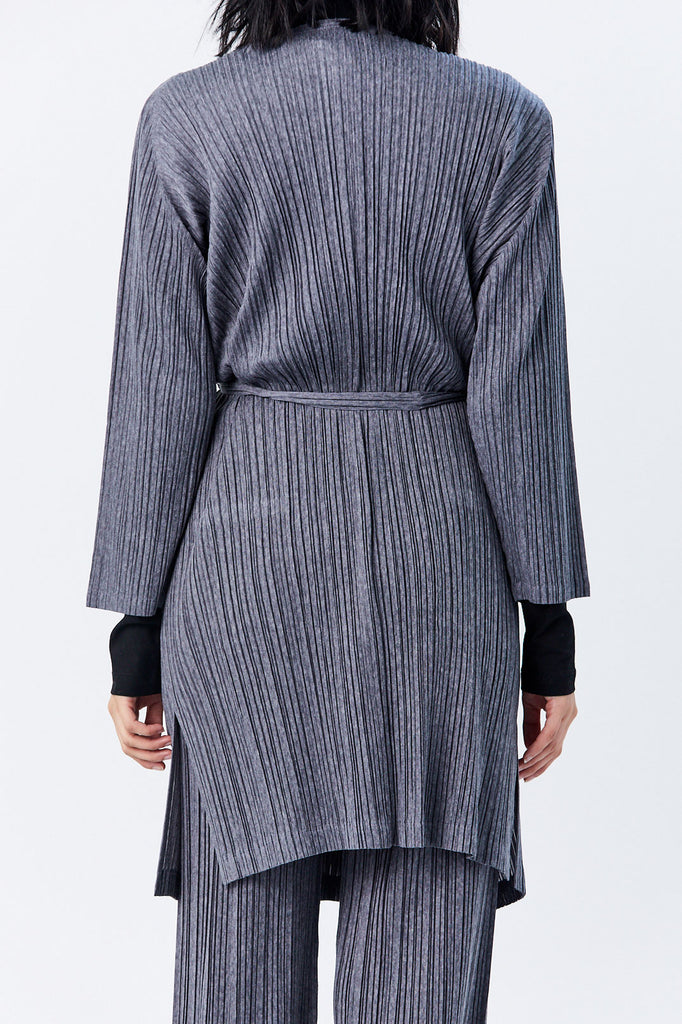 Pleats Please by Issey Miyake - Ramie Pleats Cardigan, Grey