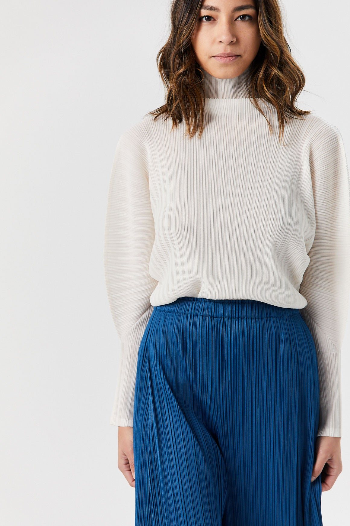 Pleats Please by Issey Miyake - Pleated High Neck Top, Off White