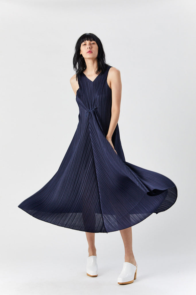 Drawstring Dress, Navy