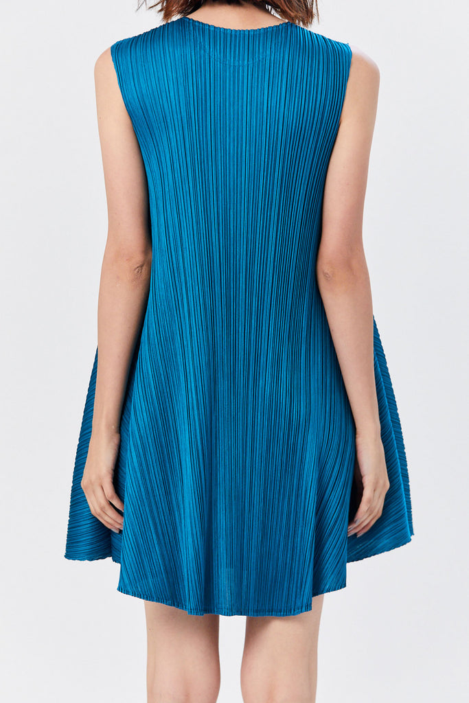 Pleats Please by Issey Miyake - Luster Sleeveless Dress, Teal Blue