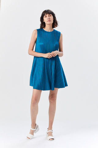 Luster Sleeveless Dress, Teal Blue