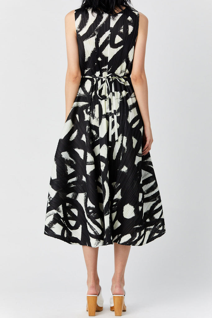 Pleats Please by Issey Miyake - Spin Dress, Black & White