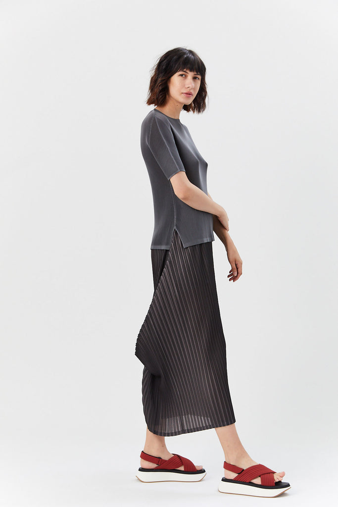 Pleats Please by Issey Miyake - Pleated Tunic, Gray