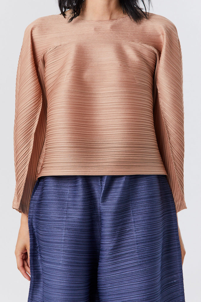 Pleats Please by Issey Miyake - Tucked Bounce Top, Beige