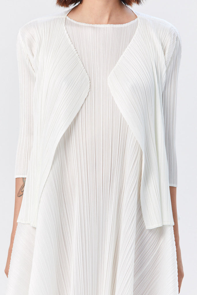 Pleats Please by Issey Miyake - Luster Open Front Jacket, White