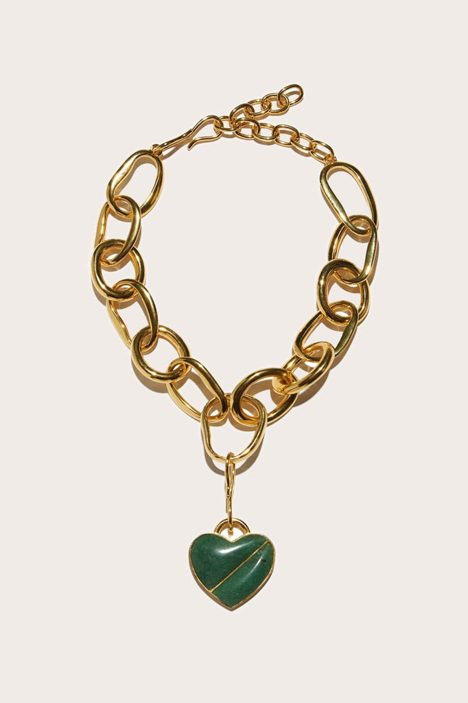Porto Necklace, Gold with Green Heart
