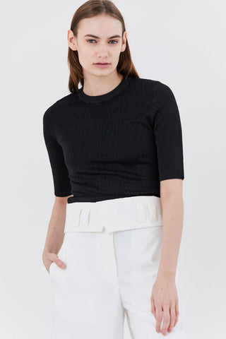Crinkle Texture Knit Top, Black