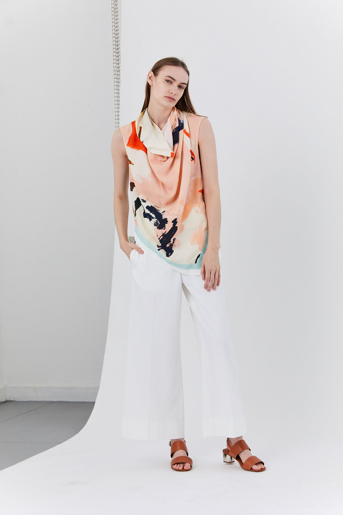 PROENZA - Cowl Top, Pink/Jade Abstract Paint