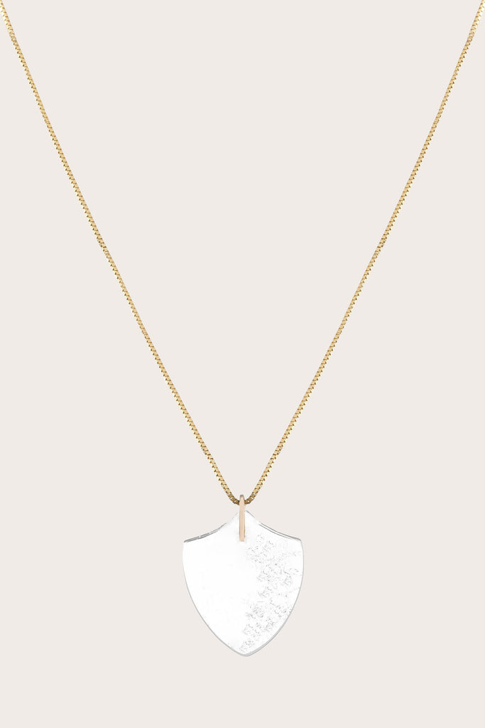 Medium Quartz Shield Necklace, Clear
