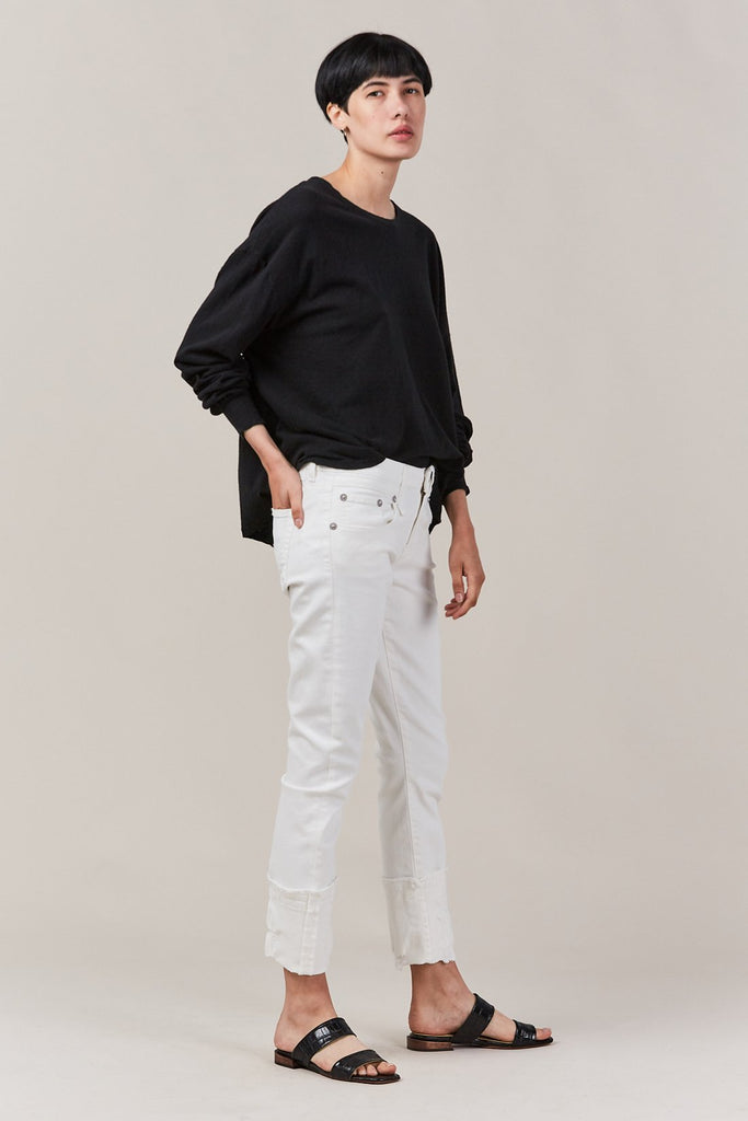 boy skinny with cuff, white