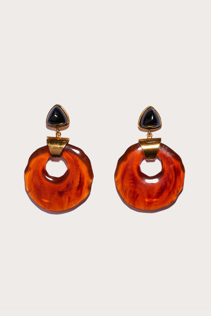 Cuban mod earrings, Onyx/Red
