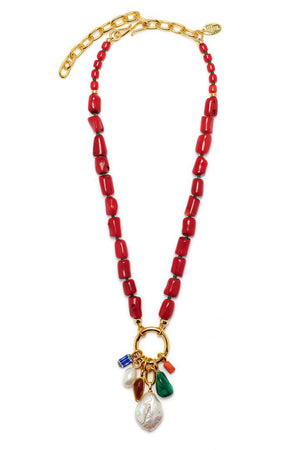 Lizzie Fortunato - sweet escape necklace, multi-red